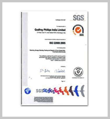 Tea Manufacturing - SGS Certificate - Godfrey Phillips India